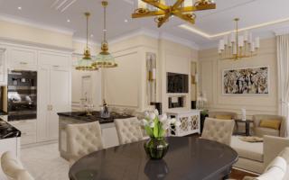 Дизайн кухни гостиной неоклассика
