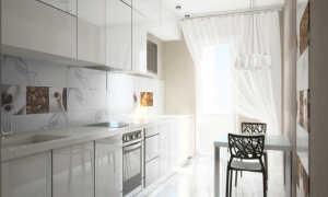 Дизайн кухни белый глянец