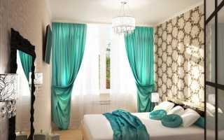 Бирюзовые шторы в интерьере спальни фото
