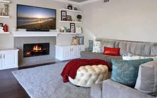 Дизайн гостиной с камином и телевизором фото