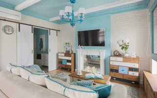 Дизайн гостиной серо голубой