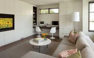 Дизайн гостиной с рабочей зоной