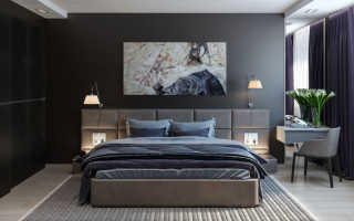 Темная спальня дизайн фото