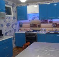 Дизайн кухни в синем цвете