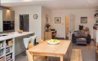 Дизайн небольшой кухни гостиной в частном доме