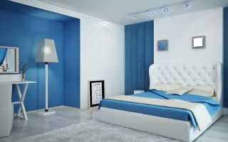 Голубые обои в интерьере спальни