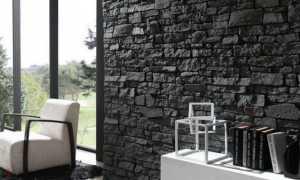 Дизайн гостиной с камнем