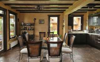 Дизайн деревянной кухни гостиной