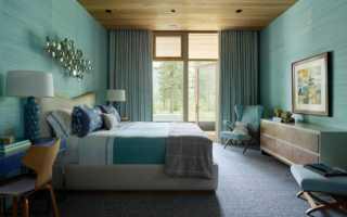 Бирюза в интерьере спальни