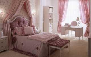 Розовая кровать в интерьере